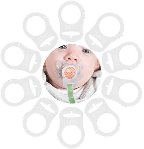 TankerStreet 10 Piezas Chupete Bebé de Silicona Blanda Cadenas Adaptador de Porta Anillo Estilo de Botón Montajes de Hebilla para Evitar Caída Transparente