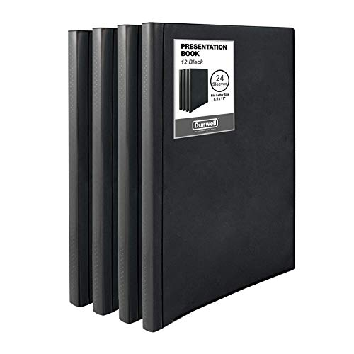 """Dunwell Binders with Plastic Sleeves (Black, 12 Pack), 24-Pocket Bound Presentation Books with Clear Sleeves, Each Displays 48 Pages of 8.5x11"""" Inserts, Sheet Protector Binders, Portfolio Folders"""