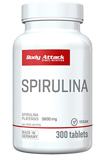 Body Attack Spirulina Tabletten in bester Qualität Made in Germany, vegan (300 Caps)