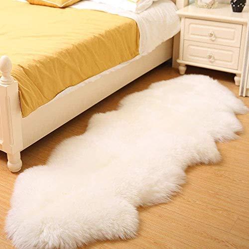 GANE Teppiche Shaggy Carpet Faux Schaffell für Schlafzimmer, für Wohnzimmer, Fluffy Super Soft Geeignet als Schlafzimmer Home Decor Kindergarten Kinder Mat-Weiß 60 * 100