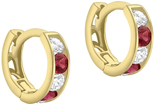 Carissima Gold Women's 9 ct Yellow Gold White and Red Cubic Zirconia 9 mm Huggy Earrings