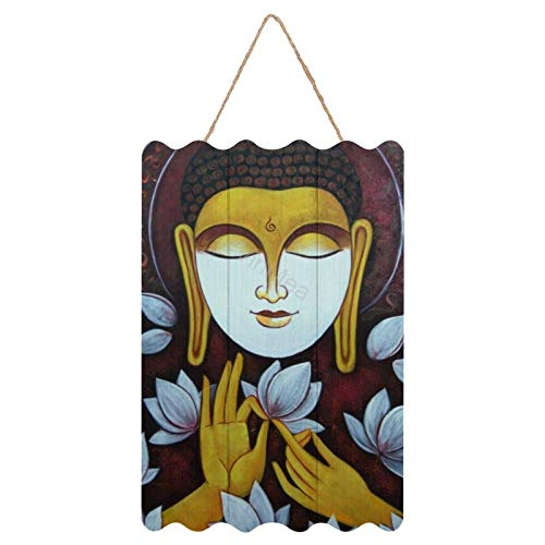 Wall Art Sign Printed Wood Plaque Sign Wall Hanging Welcome Sign Buddha in Meditation002 (8' X 12',Colourful)
