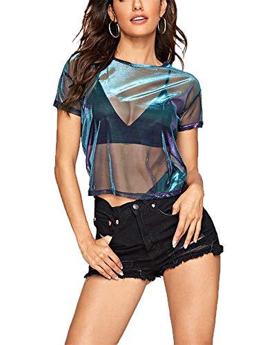 Kyerivs Women's Mesh Tops Short Sleeve Metallic Shimmer Sexy See Through Sheer Blouses (Metallic Shimmer, M)