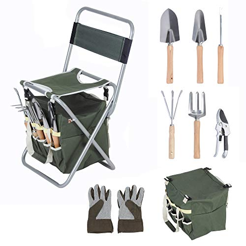 LUCKYERMORE Garden Tool Set 9 Piece Heavy Duty Gardening Tools with Ergonomic Wooden Handle Sturdy Stool with Detachable Tool Kit Perfect for Different Kinds of Gardening