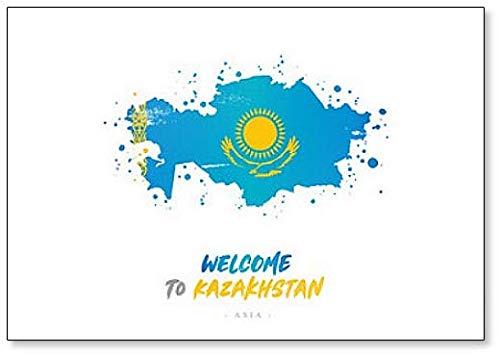 Willkommen in Kasachstan. Kühlschrankmagnet, Motiv Flagge & Landkarte