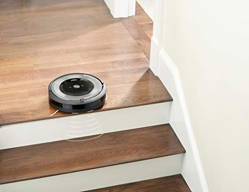 iRobot Roomba e5154, aspirateur robot, idéal pour les animaux, 2 brosses anti-emmêlement en caoutchouc, forte puissance d'aspiration, aspire les poils d'animaux sans rester emmêlé dans les tapis