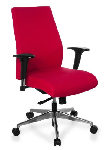 hjh OFFICE 608720 Profi Bürostuhl PRO-TEC 250 Stoff Rot Drehstuhl ergonomisch, Sitztiefe & Armlehnen verstellbar