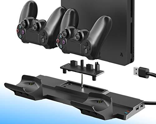 ElecGear PS4 Support d'alimentation Vertical avec Dual Chargeur Station de Charge Contrôleur Charger pour Manette DualShock 4 avec 4X Mini Adaptateur et 2X Port USB pour PS4, PS4 Slim, PS4 Pro