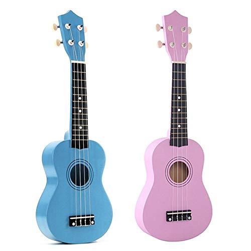 Gitarre 2Pcs 21 Zoll Sopran Ukulele 4 Saiten Hawaiianische Gitarre + Saite + Pick Für Anfänger Kid Geschenk (Hellblau & Pink)