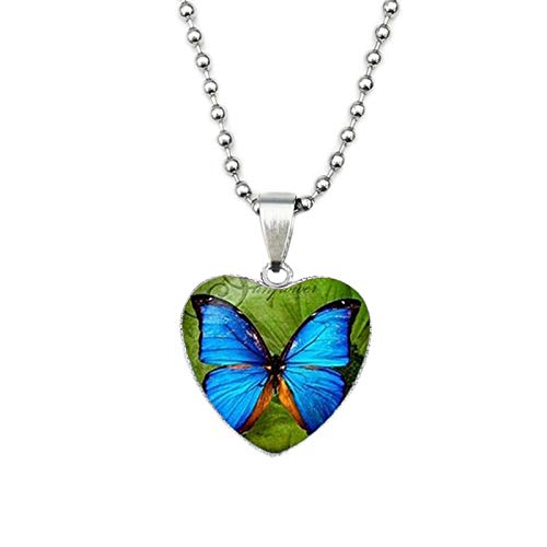 CLEARNICE Boho Mandala Om Colgante En Forma De Corazón Collar Mujeres Budismo Lotus Butterfly Flower Glass Cabochon Collares Joyería India