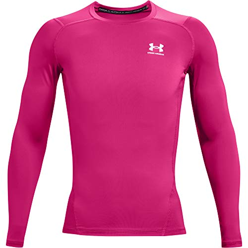 Under Armour Men's Armour HeatGear Compression Long-Sleeve T-Shirt , Tropic Pink (654)/White, Small