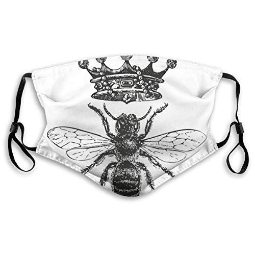 Koningin Bee Vintage Honing Bijen Zwart En Wit Filteren Gezicht Cover
