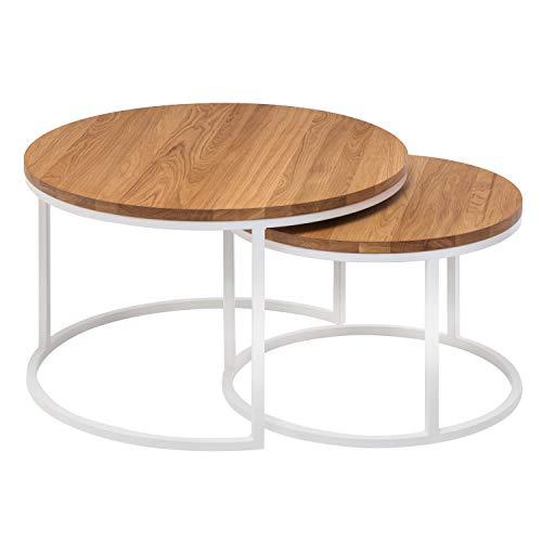 Hochwertiger Couchtisch aus Eiche & Metall - Satztisch aus Massiv Holz im 2er Set | Wohnzimmertisch aus Echtholz | Moderner Massivholz Beistelltisch - 50 cm hoch (Natur, Weißer Rahmen)