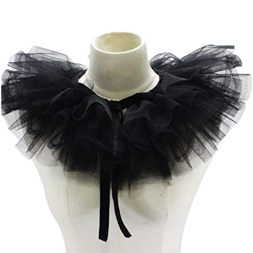 JHD Mujeres Victorian Ruffled Mesh Falso Collar Chal Vintage Capas Tul Desmontable Cuello Ruff Decorativo Payaso Gargantilla Renacimiento Cosplay Accesorio de Vestuario