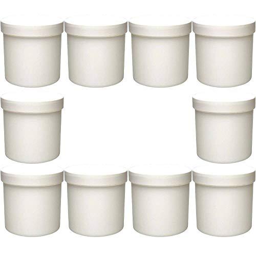 mikken weiß, 10 x Leere Cremedose Cremetiegel 250 ml Dose aus Kunststoff, lebensmittelecht, BPA frei Made in Germany