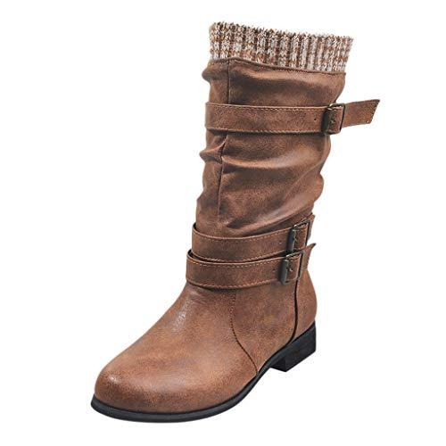 Fenverk Damen Halbschaft Stiefel Winterstiefel Damen Gefüttert Schneestiefel Bequeme Schuhe Blockabsatz Outdoor Schwarz Sneaker schnüren Langschaft Stiefel(Braun,35 EU)