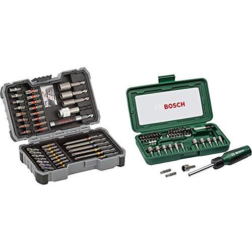 Bosch Professional 43tlg. Schrauber Bit Set (Zubehör für Elektrowerkzeuge) & 46tlg. Schraubendreher-Set