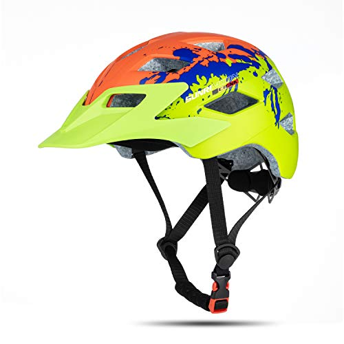 SUNRIMOON Kids Bike Helmet - Youth Bicycle Helmet with USB Rechargeable Rear Light, Scooter Skateboard Cycling Helmet Detachable Visor Adjustable Size from Child to Youth for Boys and Girls Ages 5-14