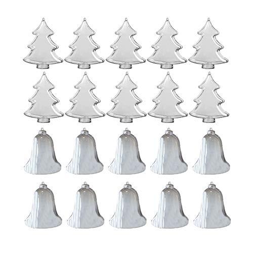 Sunbbingsp Palline Natale Trasparenti, 20 PCS Palle da Appendere, Sfere Plastica Trasparente Apribili per Albero Natale Addobbi per Matrimonio, Battesimo(Campana + Albero di Natale, 85 mm)