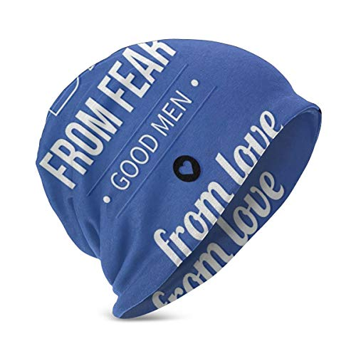 LESKETH Beanie Cap for Boy Girl,Soft Warm Kids Knit Wicked Men Obey from Fear Good Men from Love Calligraphy Philosophical Message