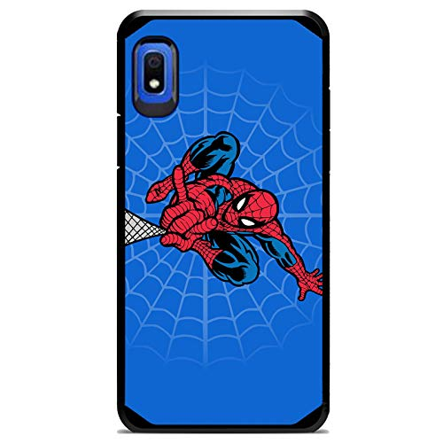 Ashley Cases for Galaxy A21/A20/A30/A11/A10E Hybrid Defender Case Cover Premium 9H Glass Screen Protector - Comic Cartoon Super Heros Spiderman Blue Multi-Colored