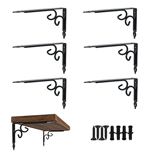 Ouvin 6 Pack Decorative Shelf Brackets Heavy Duty Iron Wall Mounted Industrial Shelf Brackets Floating Shelf Supports Home Decoration (10') Black