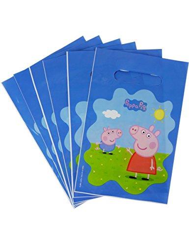 COOLMP – Lote de 6 Bolsas de Regalo Peppa Pig 22,5 x 15 cm – Talla única – Decoración y Accesorios de Fiesta, animación, cumpleaños, Boda, Evento, Juguete, Globo