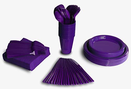 350 PCS Disposable Tableware Combo Pack INCLUDES 50 9 Purple Plastic dinner plates  50 7 plastic appetizer plates 50 plastic cups  50 paper napkins  50 plastic cutlery spoons forks knives