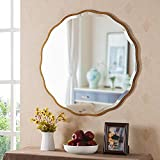 MOTINI 32' Round Beveled Mirrors Wall Mounted Gold Flower-Like Irregular Frame Decorative Mirror for Bathroom Vanity, Living Room, Bedroom, Entryway Wall Decor