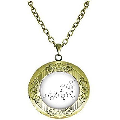 nijiahx Oxytocin Molekül Struktur Love Hormon Medaillon Halskette – Oxytocin Schmuck – Oxytocin Molekularstruktur – Chemie-Schmuck