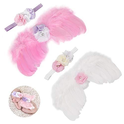 Zliger 2 Pedazo Recien Nacido fotografia Bebe Plumas ángel alas con Diadema Set Apoyo de la fotografía del bebé para fotografía