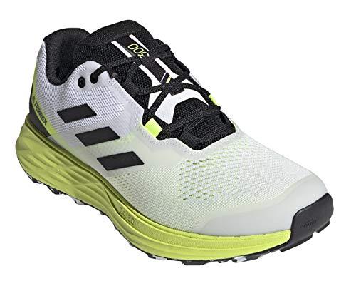 adidas Men's Terrex Two Flow Trail Running Shoe, Cloud White/Core Black/Solar Yellow - 9