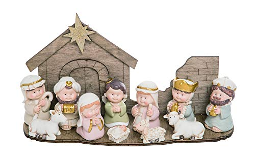 Transpac Cuties Natural 11 x 6 Resin Stone Christmas Nativity Figurines Set of 12