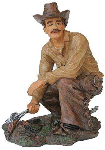 Western Ranch Cowboy con Hierro Forjado Figura 14x 9x 17cm Grande pintadas a Mano de polirresina