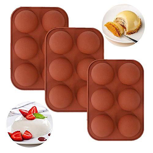 6 Holes Silicone Mold For Chocolate,Half Sphere Silicone Molds For Baking, BPA Free Cupcake Baking ,Silicone Molds for Making Chocolate, Cake, Jelly, Dome Mousse (3Pcs Brick red)