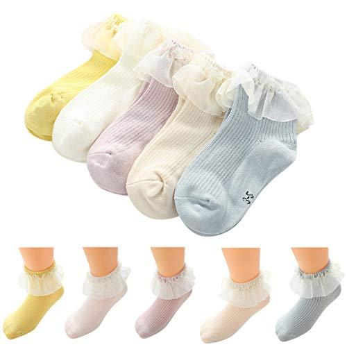 Amphia - 5 Paare - Baby Socken - Baby Mädchen Spitze Spitze Prinzessin Socken5 Paare Baby Kinder Mädchen bequeme Spitze niedliche Baumwollsockenhausschuhe Söckchen