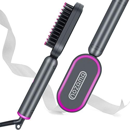 Nozama Ionic Hair Straightener Brush - Straightening Comb with Anti-Scald, 30s Fast Heating Ceramic Straightening Brush, 3 Heating Levels, Anti-Scald & Auto-Off - Easy to Use for Home, Travel, Salon