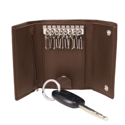 Royce Leather Trifold Key Case Organizer Wallet in Leather, Brown, One Size