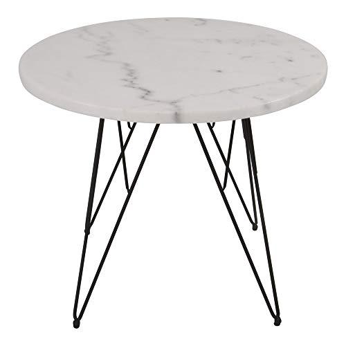 Lesli Living Beistelltisch Marmor Ø55x45 cm Couchtisch Marmortisch Wohnzimmertisch Sofatisch rund schwarz/Weiss