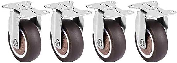 4 stuks 2 inch TPE rubberen zwenkwielen Verwijderbare mute stoel Vaste wielen Bovenplaat zwenkwielen