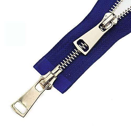 5# doppi cursori 60/70/80/90/100/120/150 cm chiusura automatica in metallo con cerniera in oro rosa-Royal Blue, 5#, 90 cm