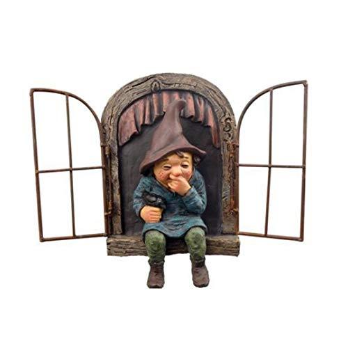 Resin Garden Gnome Elf Tree Statue Out The Door Tree Hugger Ornaments Mini Garden Peeker Yard Art