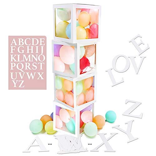 VINFUTUR 4 Stücke Leer Ballonbox Transparente Luftballon-Box mit 52 Pcs Buchstaben A-Z für Hochzeit Geburtstag Baby Shower Überraschungsbox Party Dekorationen