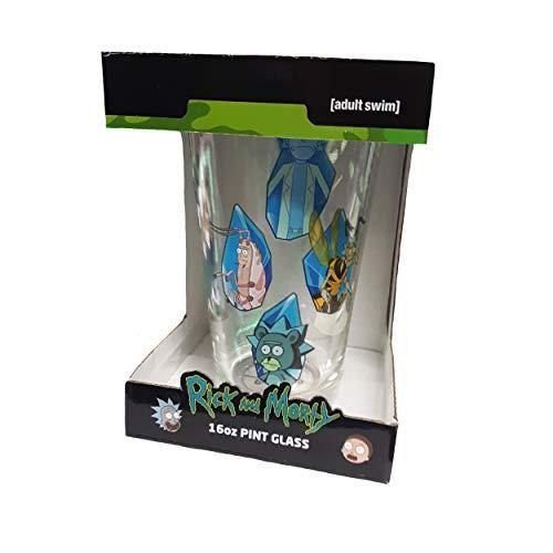 Rick and Morty Crystals - Vaso de pinta transparente, 16 onzas