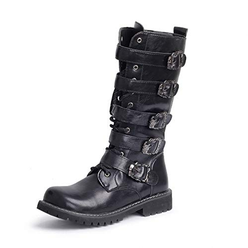 Tebapi Mens Backpacking Boots Army Boots Men High Military Combat Boots Metal Buckle Punk Mid Calf Male Motorcycle Boots Lace up Men's Shoes Rock Black 10.5