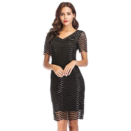 Mode Frauen Pailletten Kleid Kurzarm Tasche hip sexy Kleid schwarz s