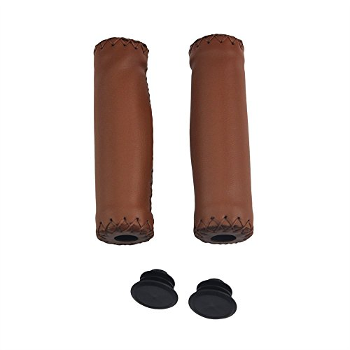 UPANBIKE Bike Grips Push On Retro Synthetic Leather Fit 22.2mm Handlebar End For Mountain Bike Road Bicycle (One Pair)