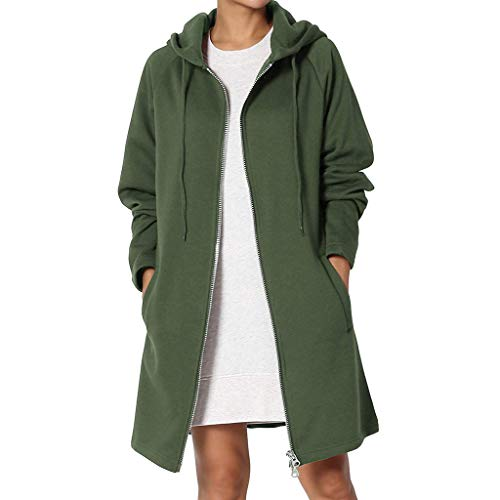 Women's Full Zip Hooded Sweatshirt Long Sleeve Casual Long Jacket Cardigan Coat (S, Green)