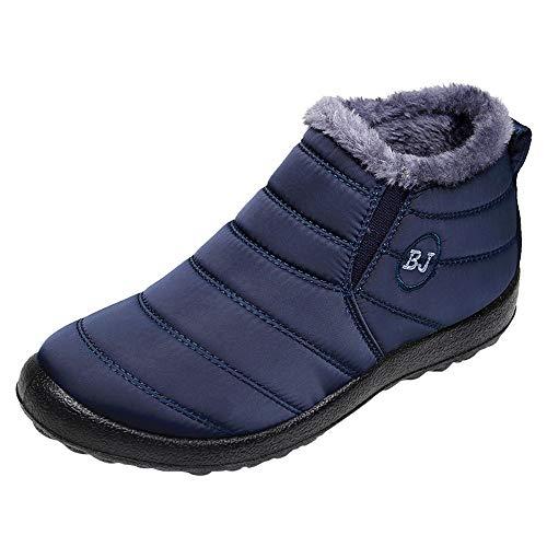 Sylar Zapatos para Hombre Baratos Invierno Repelente Al Agua Más Terciopelo Mantener Caliente Botas De Nieve Zapatos Casuales Zapatos Planos (Azul, 40 EU, 42)