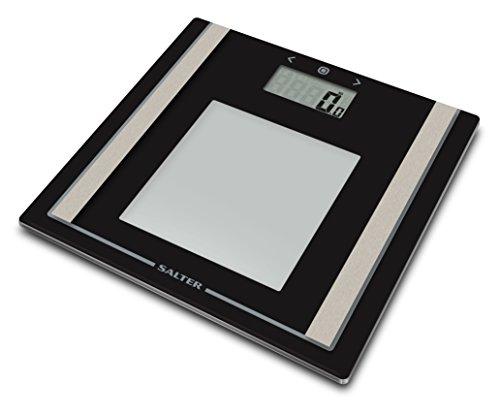 SALTER digitale Waage zur Körperanalyse, Wiegen von Körperfettanteil und BMI, Ultraschlank, Gehärtetes Glas, Step-On Technologie, Gut lesbare LCD Anzeige
